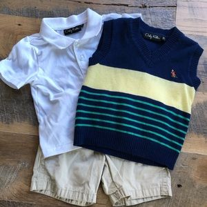 3 Piece Boys Outfit. Polo, Sweater Vest & Shorts.